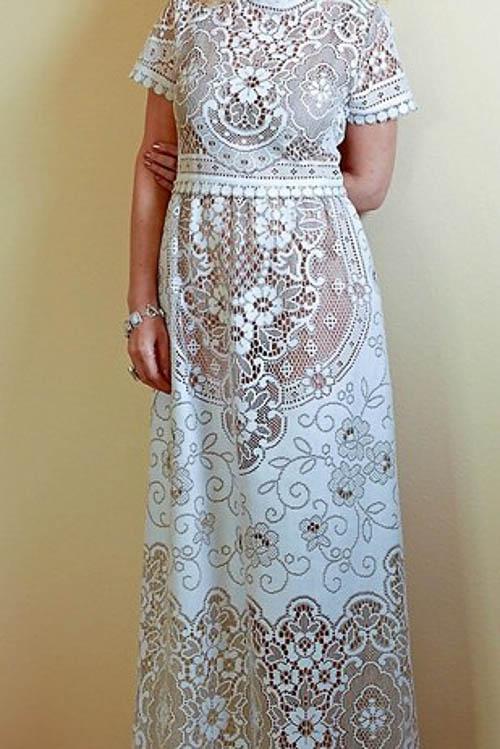 70ies Boho Hochzeitskleid