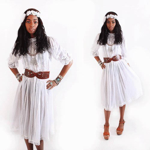 Vintage Hippie Hochzeitskleid mit Gürtel